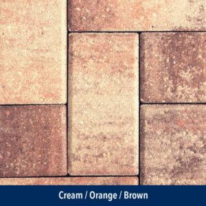 cream-orange-brown pavers