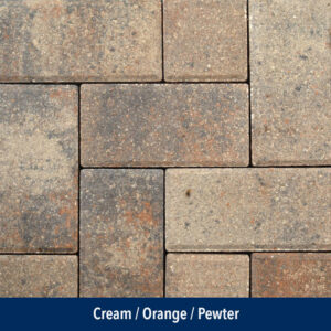 cream-orange-pewter pavers